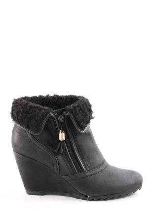 Esprit Keil-Stiefeletten schwarz Casual-Look
