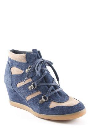 Esprit Keil-Stiefeletten dunkelblau-beige Casual-Look