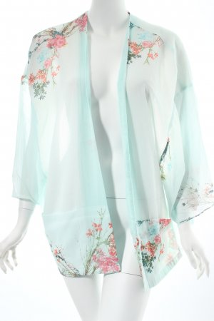 Esprit Kimono-Bluse türkis florales Muster Ethno-Look
