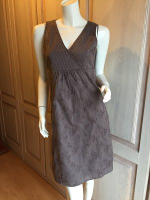 Esprit Kleid 34 braun khaki Baumwolle mit Blumenstickerei