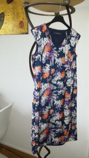 ESPRIT Kleid allover Blumen dunkelblau seidig Gr.36 *neu*
