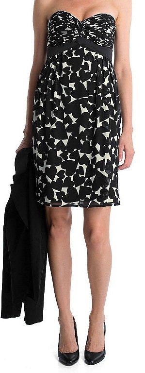 Esprit Kleid Cocktailkleid elegant Sommer schwarz weiß Herzen Gr. 38 neuwertig