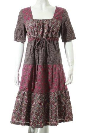 Esprit Kleid grau-purpur Blumenmuster Boho-Look