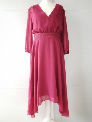 ESPRIT Kleid, himbeer-rot, Gr.36, 3/4Arm, mit Goldperlen
