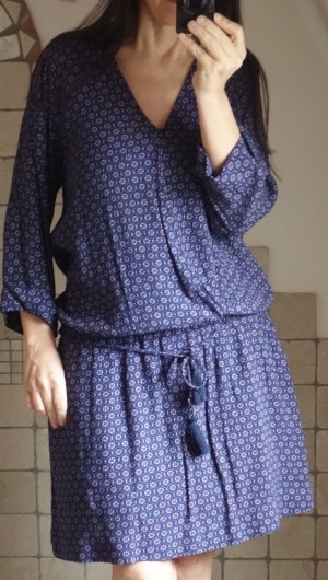 Esprit Kleid, Minikleid, Longtunika, dunkelblau, navy, rot, Paisley, klein gemustert