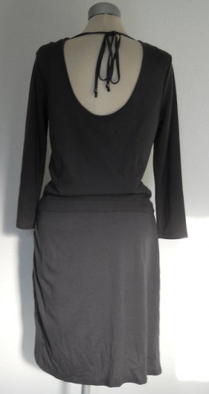 Esprit Kleid rückenfrei grau Gr. M 40 Arm Jersey gerafft kurz Mini neu