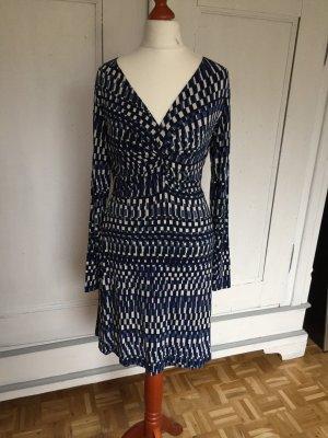 Esprit Kleid Stretchkleid langärmlig blau weiß Retro 36 S
