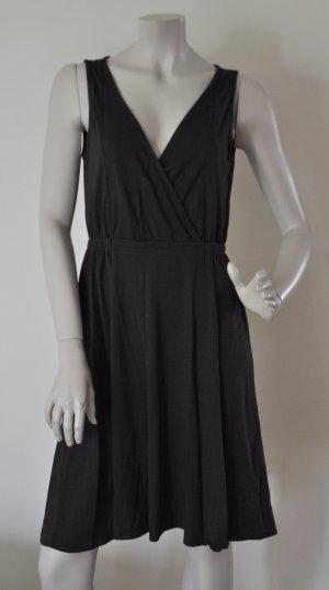 Esprit Kleid Wickeloptik aus Jersey Baumwolle Modal schwarz Gr. L