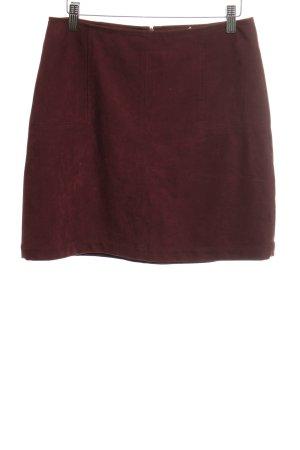 Esprit Falda de cuero de imitación rojo amarronado look casual