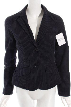 Esprit Kurz-Blazer dunkelblau-weiß Nadelstreifen klassischer Stil Baumwolle