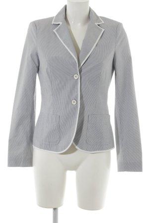 Esprit Kurz-Blazer weiß-graublau Streifenmuster schlichter Stil