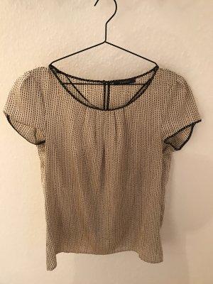 Esprit Kurzärmlig Bluse Shirt beige schwarz