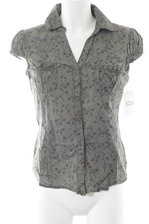 Esprit Kurzarm-Bluse grüngrau-grau florales Muster Casual-Look