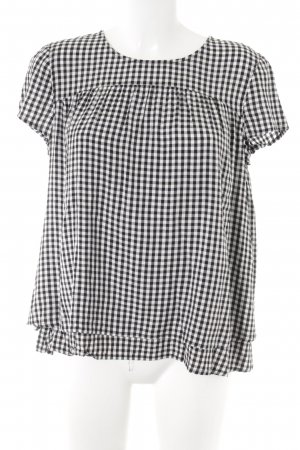Esprit Kurzarm-Bluse schwarz-weiß Karomuster Casual-Look