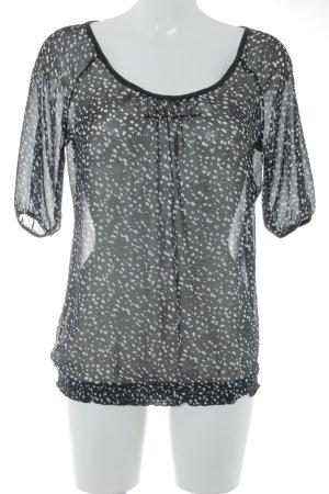 Esprit Kurzarm-Bluse schwarz-weiß Punktemuster Casual-Look