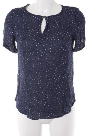 Esprit Kurzarm-Bluse weiß-dunkelblau Punktemuster Casual-Look