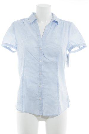 Esprit Kurzarm-Bluse weiß-himmelblau Streifenmuster Elegant
