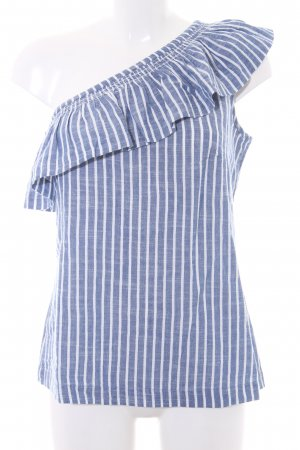 Esprit Kurzarm-Bluse weiß-stahlblau Streifenmuster Casual-Look