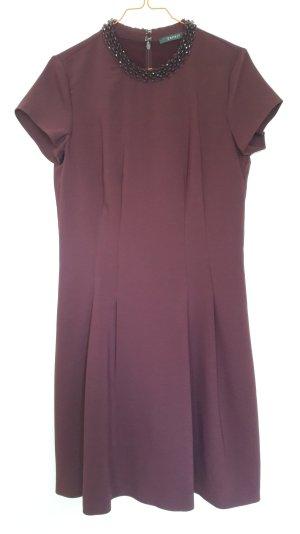 Esprit Kurzarm Kleid A-Linie purpur brombeerrot mit Perlenkragen festlich Gr. 36