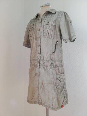Esprit Kurzarm Kleid Safari Gr. 38 S M grau Sommerkleid