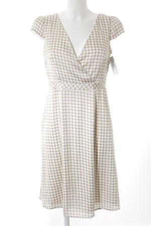 Esprit Vestido de manga corta crema-beige estampado a lunares estilo clásico