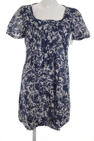 Esprit Kurzarmkleid dunkelblau-weiß Blumenmuster Casual-Look