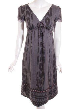 Esprit Kurzarmkleid grau-schwarz abstraktes Muster Casual-Look