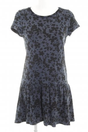 Esprit Kurzarmkleid graublau-dunkelblau florales Muster Casual-Look