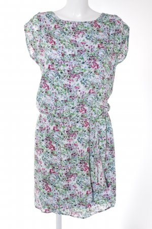 Esprit Kurzarmkleid grün-magenta florales Muster Casual-Look