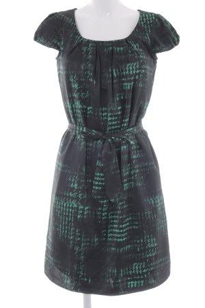 Esprit Kurzarmkleid grün-schwarz abstraktes Muster klassischer Stil