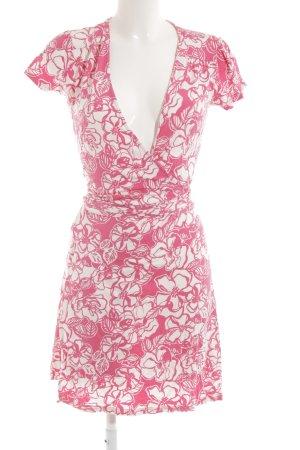 Esprit Kurzarmkleid rosa-weiß abstraktes Muster Casual-Look