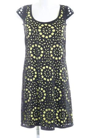 Esprit Kurzarmkleid schwarz-limettengelb abstraktes Muster extravaganter Stil