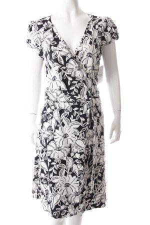 Esprit Kurzarmkleid schwarz-weiß florales Muster Business-Look