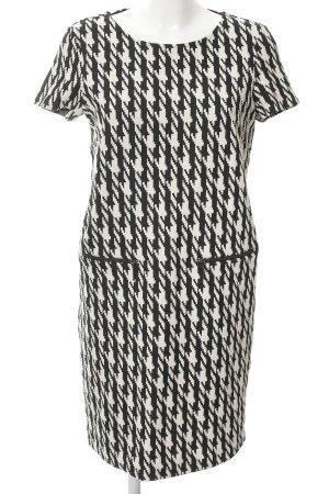 Esprit Kurzarmkleid schwarz-weiß Hahnentrittmuster 70ies-Stil