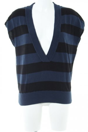 Esprit Kurzarmpullover schwarz-dunkelblau Streifenmuster Casual-Look