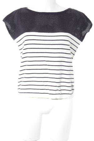 Esprit Short Sleeve Sweater natural white-grey violet striped pattern