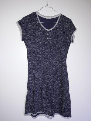 Esprit kurzes Nachthemd dunkelblau cremeweiß mit kleinem Schmetterlingsmuster und Spitze Gr. 36