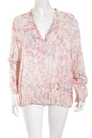 Esprit Langarm-Bluse apricot florales Muster Hippie-Look