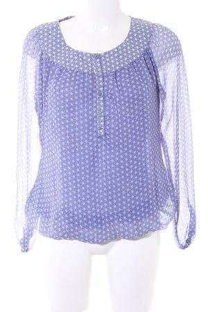 Esprit Langarm-Bluse creme-stahlblau Punktemuster Casual-Look