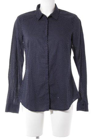 Esprit Langarm-Bluse dunkelblau-wollweiß Punktemuster klassischer Stil