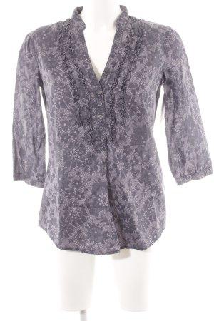 Esprit Langarm-Bluse dunkelviolett-grauviolett florales Muster Casual-Look