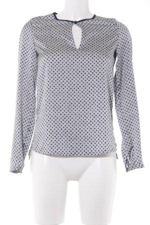 Esprit Langarm-Bluse graublau-dunkelblau Punktemuster Elegant