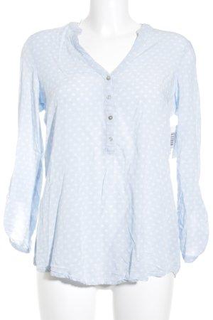 Esprit Langarm-Bluse himmelblau-wollweiß Motivdruck schlichter Stil
