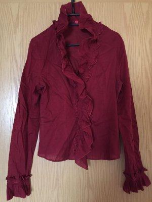Esprit Langarm-Bluse rot Streifenmuster Romantik-Look, Große M
