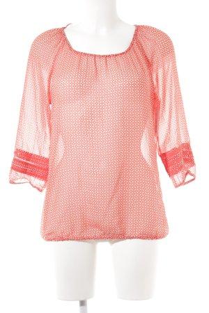 Esprit Langarm-Bluse rot-weiß Romantik-Look