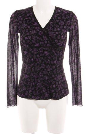 Esprit Langarm-Bluse schwarz-lila Blumenmuster Zierbesatz