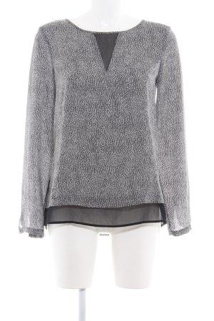 Esprit Langarm-Bluse schwarz-weiß abstraktes Muster Business-Look