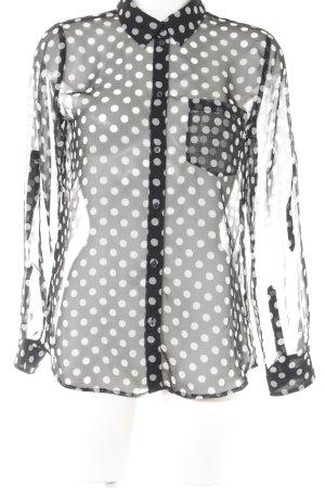 Esprit Langarm-Bluse schwarz-weiß Punktemuster Casual-Look