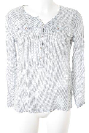 Esprit Langarm-Bluse weiß-blau abstraktes Muster