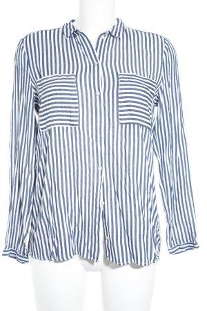 Esprit Langarm-Bluse weiß-blau Streifenmuster Casual-Look